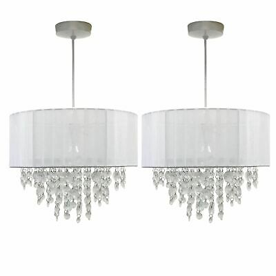 Set Of 2 White Ceiling Light Shades Modern Easy Fit Pendant Lightshades • 37.99£