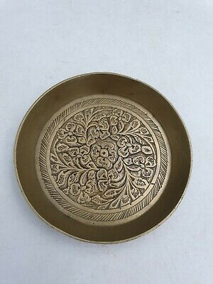 Vtg Indian Solid Brass Small Pin Dish Plate Ornate Floral Motif Higher Border • 14.99£