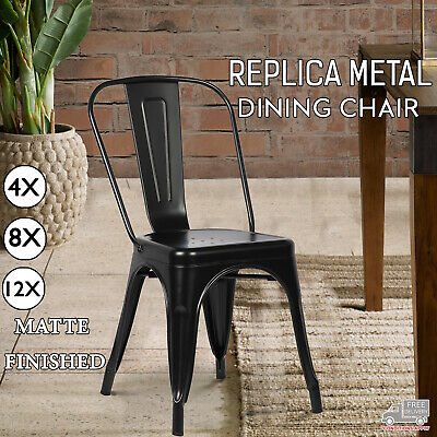 AU388 • Buy 4,8,12 New Tolix Style Metal Dining Home Cafe Chair Black