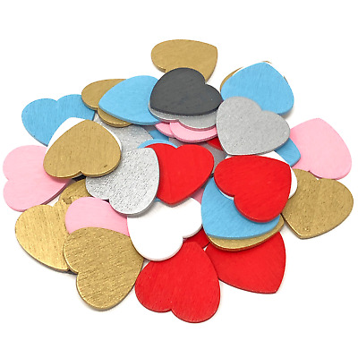 £2.99 • Buy 28mm Love Hearts Wooden Shabby Chic Craft Scrapbook Vintage Coloured Hearts