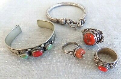 $ CDN43.72 • Buy Lot Of 5 Vintage Ethnic Tibetan Silver Jewelry Rings & Bracelets Coral Turquoise