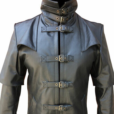 $114.45 • Buy Mens Real Black Leather Trench Coat Steampunk Duster Winter Motorbike Jacket