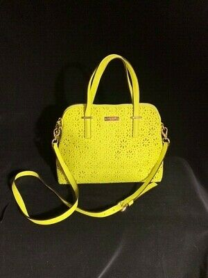 $49.75 • Buy Kate Spade Medium Dome Chartreuse Green Laser Cut Floral Leather Handbag