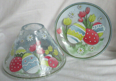 £51.59 • Buy Yankee Candle Jar Shade Tray EASTER CRACKLE Set Of 2 Pcs Spring Eggs Tulips