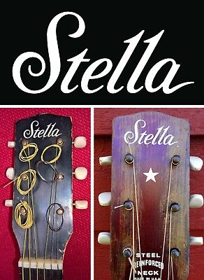 $ CDN10.83 • Buy Stella Harmony Headstock Decals Decal Waterslide White Acoustic Archtop Guitar