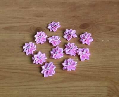 10 Satin Ribbon Flowers Appliques Craft Wedding Party Sewing DIY Decoration • 1.50£
