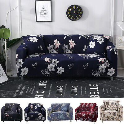 Sofa Covers Elastic Stretch Settee Floral Slipcover Protector Couch 1/2/3 Seater • 15.49£