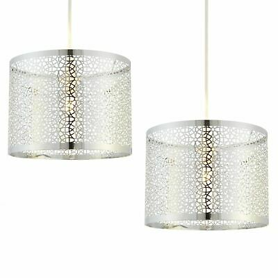 Set Of 2 Easy Fit Ceiling Light Shade Pendants Modern Laser Cut Metal Design • 24.99£