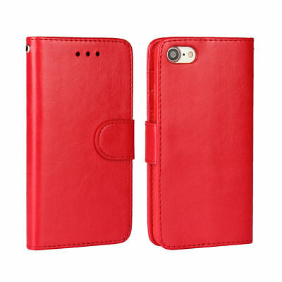 AU13.50 • Buy For IPhone 7 8 7+ 8+ Red Card Slot Wallet Leather Case Cover With TPU Holder