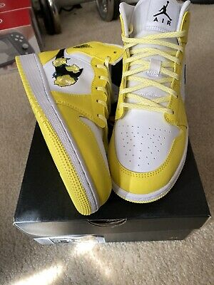 $100 • Buy Air Jordan 1 Mid  Yellow White Floral Embroidery Flower GS Size 5.5y AV5174 700
