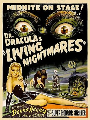 $ CDN22.56 • Buy Dr. Dracula's Living Nightmares 1950s Vintage Old Sci-Fi Movie Poster - 20x28