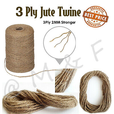 3 Ply Jute Natural Brown Shabby Rustic Twine String Burlap Shank Craft 10m -100M • 1.49£