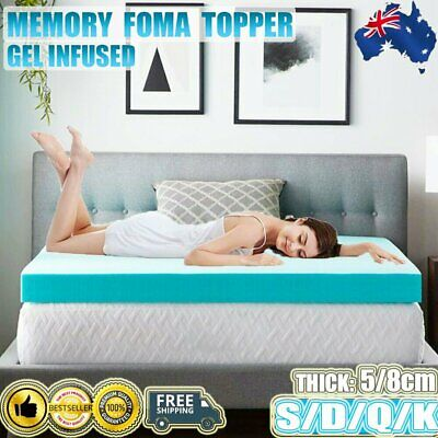 AU119.99 • Buy 5/8CM Bedding Cool Gel Memory Foam Mattress Topper Single/Double/Queen/King Mat