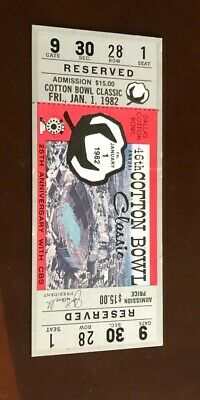 $49.99 • Buy 1982 Cotton Bowl College Football Ticket Stub Texas Longhorns Full Ticket