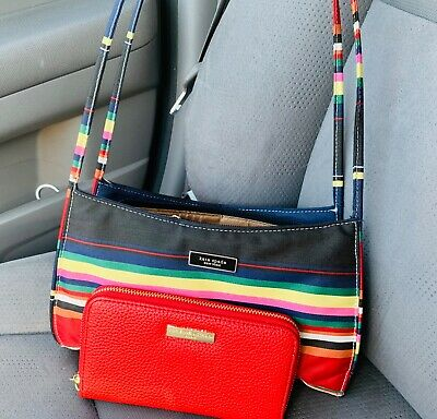 $15 • Buy Kate Spade Striped Handbag With Matching Wallet