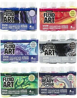 DecoArt Fluid Art Ready To Pour Acrylic Paint Pouring X4 Pack - CHOICE OF SETS • 14.99£