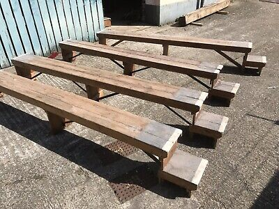 Vintage Reclaimed Salvage Home Hall Garden Timber Wood Benches Seating Bar Stool • 135£