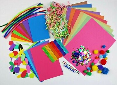 Kids Arts & Craft Box ~ Children's Craft Material Sets  ~ Foam Card Pom Glitter  • 7.99£