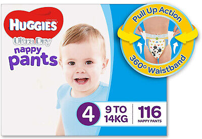 AU88.95 • Buy Huggies Ultra Dry Nappy Pants, Boys, Size 4 Toddler (9-14kg), 116 Count