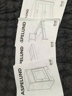 IKEA ASPELUND  4pc Bedroom Furniture. Double Bed,Underbed Drawer, 2 X Bedside • 120£