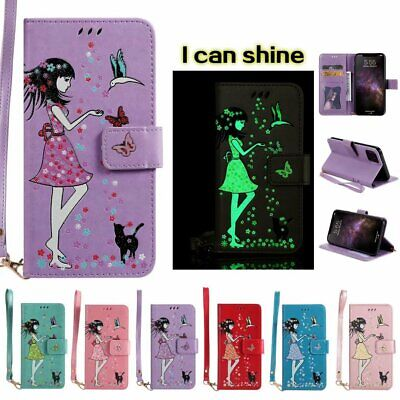 AU10.29 • Buy For Iphone 11 X XS 8 7 Case Noctilucent Girl Leather Wallet Card Flip Over Case