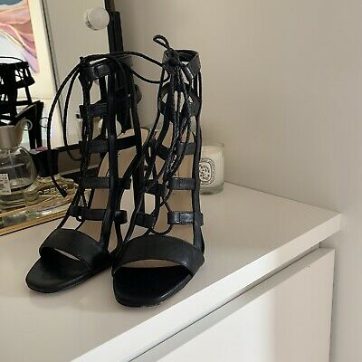 £10 • Buy ZARA 100% Real Leather Lace Up Cage Caged High Heel Sandal Heels UK 4 EU 37