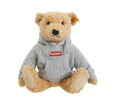 $309.99 • Buy *NEW & UNOPENED* Supreme X Steiff Teddy Bear Grey Box Logo Hoodie FW18 Authentic