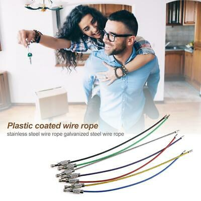 20pcs Stainless Steel Wire Keychain Screw Locking Gadget Cable Rope Keyring UK • 3.39£