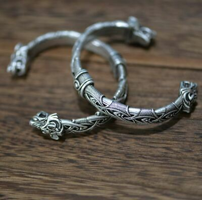 Norse Viking Wolf Head Open Bracelet - UK Seller • 8.99£