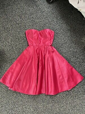 £29 • Buy Pink Strapless Bridesmaid Prom Dress 50s Flare Underskirt Satin Size 6 Christmas