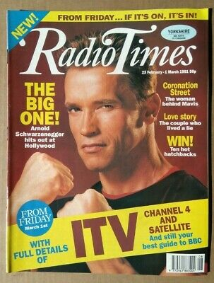 Radio Times 23rd February - 1st March 1991 - Arnold Schwarzenegger • 20£