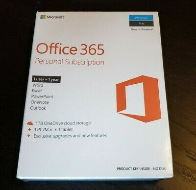 AU69.47 • Buy BRAND NEW Microsoft Office 365 Personal PC Or Mac Subscription Retail