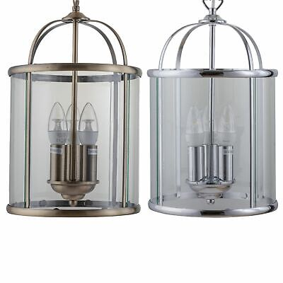 Traditional Style 3 Light Glass Lantern Pendant Ceiling Light Fittings • 44.99£