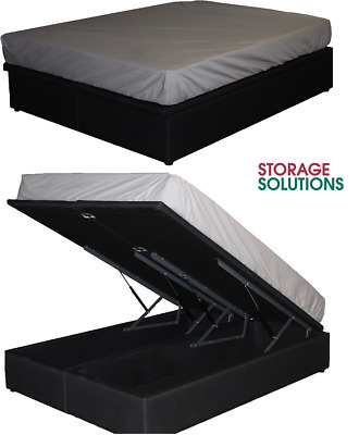 AU899 • Buy Brand New Storax Gas Lift His & Her Storage Double Bed Ensemble Base Charcoal