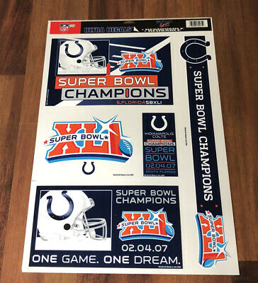$12.99 • Buy Indianapolis Colts Super Bowl Xli Champions Ultra Reusable Decals Football