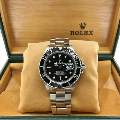 $ CDN10860.24 • Buy Rolex Black Submariner Date Stainless Steel Watch Ref 16610 Vintage L Serial