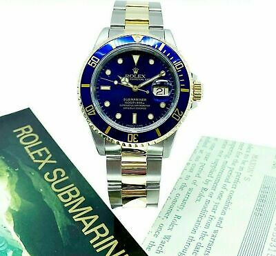 $ CDN12855.47 • Buy Rolex Blue Submariner Date 18K Yellow Gold & Steel Watch Ref 16613 With Papers