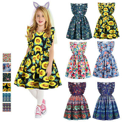 Girls African Dashiki 3D Digital Print Floral Fly Sleeve Princess Summer Dress • 9.38£