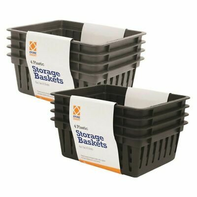 8 X PLASTIC STORAGE SMALL BASKET 2 COLOURS HANDY KITCHEN OFFICE SCHOOL BASKET DW • 8.99£