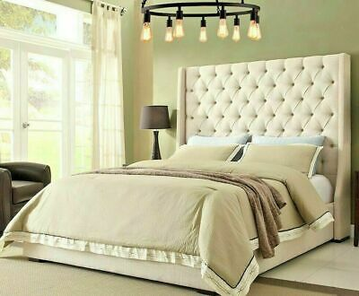 Winged Bed Frame Upholstered Double - King -  Wingback -scroll - Sleigh - Wing • 329.99£