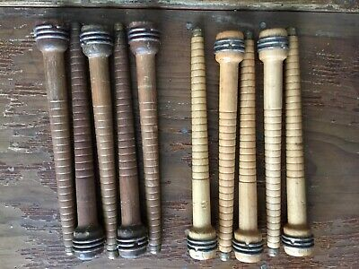 $15 • Buy Lot Of 10 Vintage Wooden Industrial Textile Thread Spindle Bobbin -2 Wood Shades
