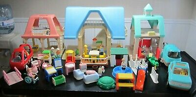 $400 • Buy Vintage Little Tikes Blue Roof Dollhouse + Cottage & Stable, 73 Pc.