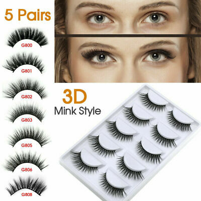 AU7.99 • Buy 5 Pairs Fake Eyelashes Eye Lashes 3D Mink Natural Thick False Makeup Extension