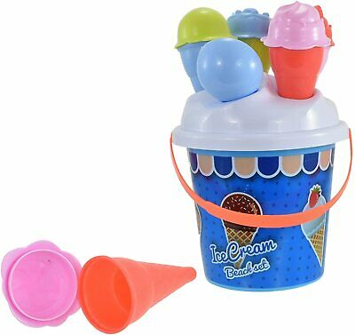 £9.25 • Buy Ice Cream Bucket And Spade Shape Moulds Pink Or Blue Beach Set