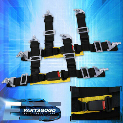 $ CDN59.76 • Buy 2  Nylon 4Pt Black Harness Racing Seat Belt Pair Buckle Latch Gold Strap Pair