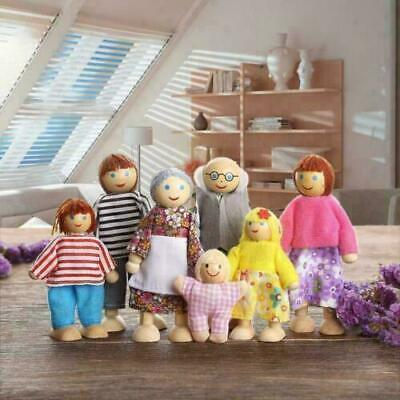 £5.59 • Buy 7 People Doll Wooden Furniture Dolls House Family Miniature Kids Paly Toys