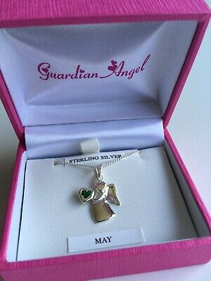 Guardian Angel Necklace Sterling Silver/Green CZ - May Birthstone BNWB • 35£