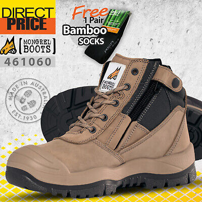 AU157.95 • Buy Mongrel Work Boots Steel Toe Safety Security 461060 Zip Sider Stone Scuff Cap