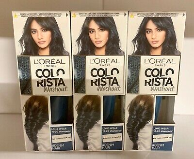 3 X L'OREAL COLORISTA WASHOUT PAINT SEMI-PERMANENT HAIR DYE - DENIM HAIR  • 12.49£