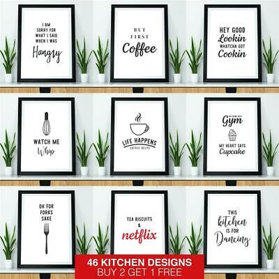 Kitchen Prints Framed Wall Art Picture Funny Quote Print Dining Room Poster • 5.95£